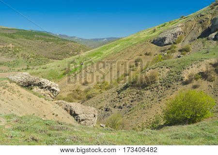 Variety of colors at spring season landscape in Eastern Crimea.