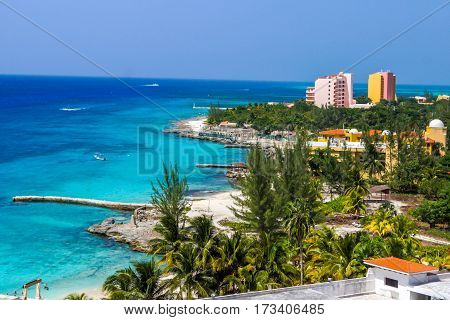 Landscape of shoreline hotels on caribbean island