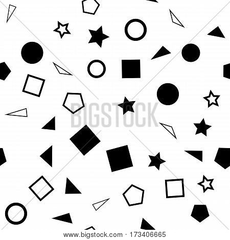 Vector illustration of a seamless pattern of black and white simple shapes - squares triangles circles and stars on a white background.