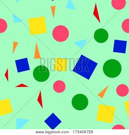 Vector illustration of a seamless pattern of colorful simple shapes - squares triangles circles on a light green background.
