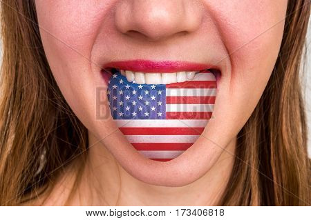 Woman With American Flag On The Tongue