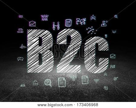 Business concept: Glowing text B2c,  Hand Drawn Business Icons in grunge dark room with Dirty Floor, black background