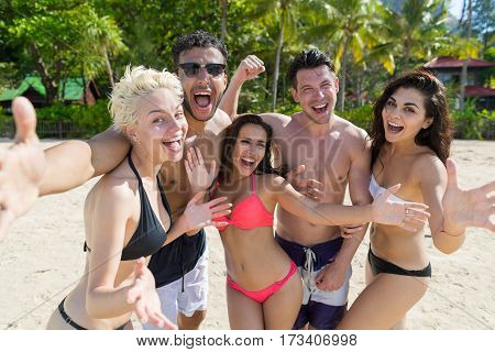 Young People Group On Beach Summer Vacation, Happy Smiling Friends Taking Selfie Photo Sea Ocean Holiday Travel