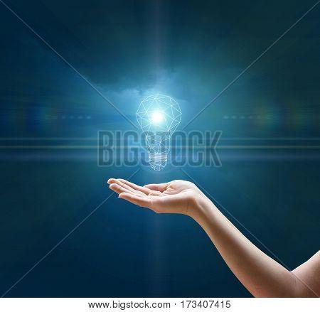 Light Bulb In Hand Businesswoman.