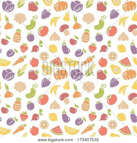 Seamless background with pictures of fruits and vegetables