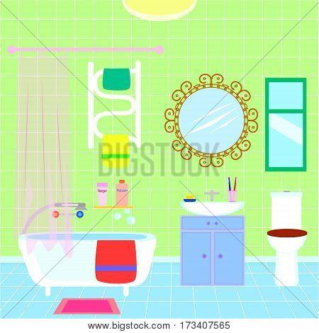 Modern bathroom interior. Bathroom with furniture. Flat style vector illustration