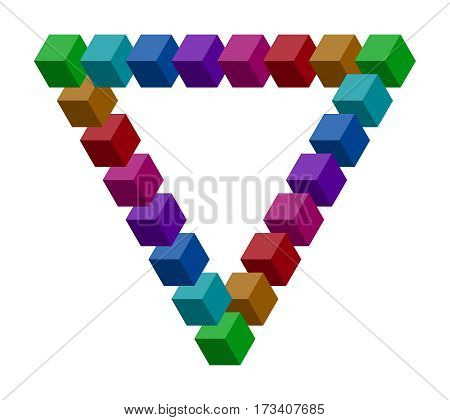 Penrose triangle constructed of a lot of colorful vector blocks. Isometric cubes for impossible 3d designing. Mathematical object with mental trick. Optical illusion of brain.