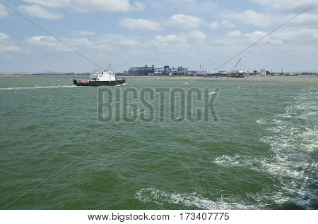 The Kerch Strait. The view from the ferry going in the direction of the Crimea