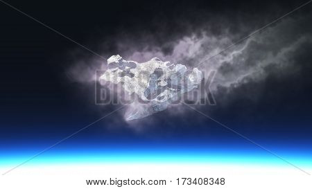 Burning Meteorite Falling To Planet