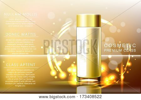 Design cosmetics Glass bottle product advertising tamplate on gold transparent background with boke. Vector 3d illustration