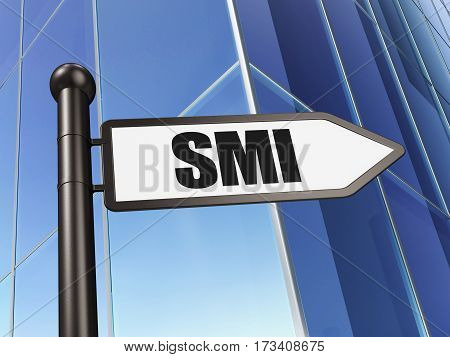 Stock market indexes concept: sign SMI on Building background, 3D rendering