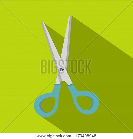 Scissors with blue plastic handles icon. Flat illustration of scissors with blue plastic handles vector icon for web isolated on lime background