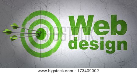 Success web design concept: arrows hitting the center of target, Green Web Design on wall background, 3D rendering