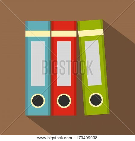 Red, green, blue office folders icon. Flat illustration of red, green, blue office folders vector icon for web isolated on coffee background
