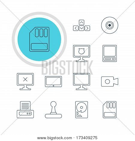 Vector Illustration Of 12 Laptop Icons. Editable Pack Of Pda, Tablet, Screen And Other Elements.