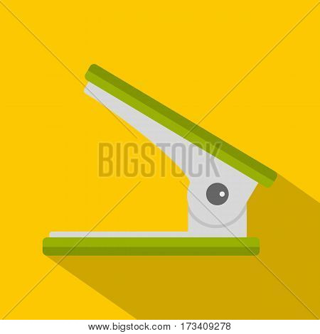 Green office hole punch icon. Flat illustration of green office hole punch vector icon for web isolated on yellow background