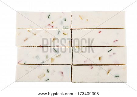 Stack Of Candy With Marmalade Isolated On White