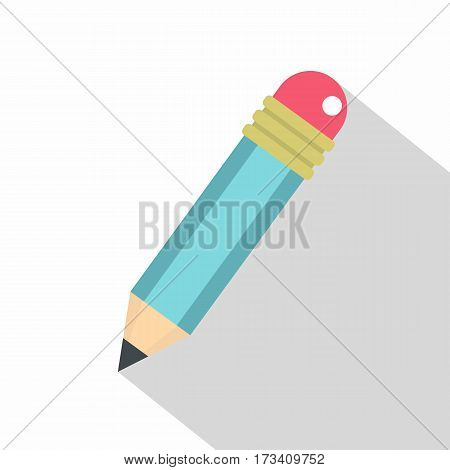 Blue sharpened pencil with eraser icon. Flat illustration of blue sharpened pencil with eraser vector icon for web isolated on white background
