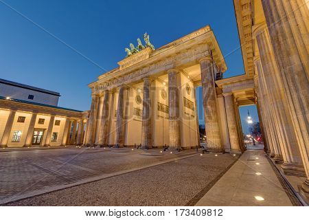 The famous landmark Brandenburger Tor in Berlin at night