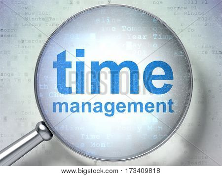 Time concept: magnifying optical glass with words Time Management on digital background, 3D rendering