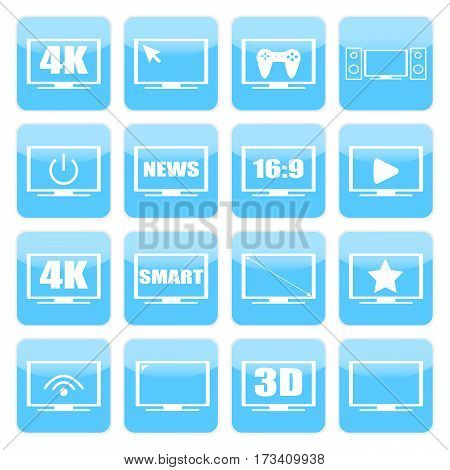 TV icons vector set. TV screens on a white background. TV isolated silhouettes. Modern TV symbols.