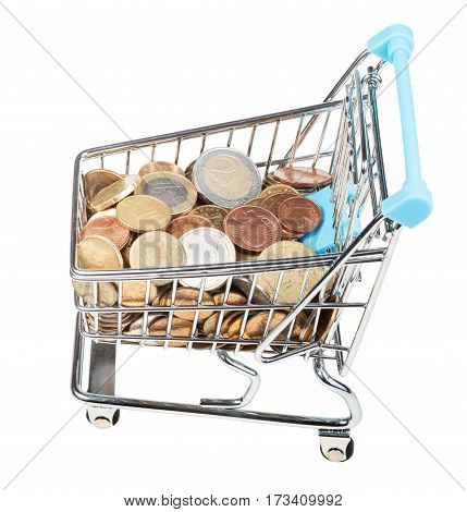 Shopping Cart With Euro Coins Isolated