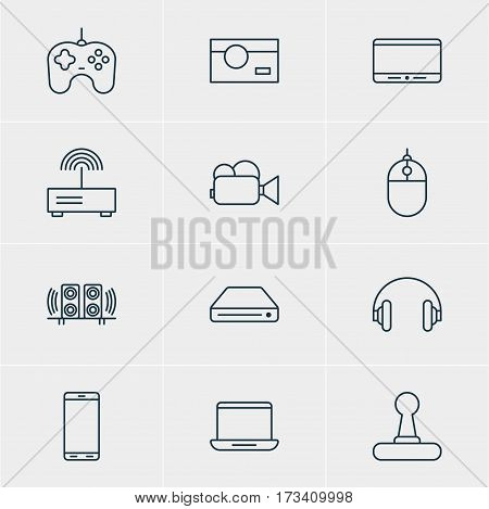 Vector Illustration Of 12 Technology Icons. Editable Pack Of Loudspeaker, Headset, Joypad And Other Elements.