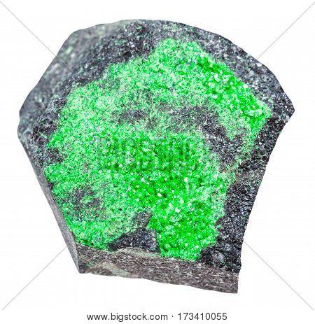 Specimen With Uvarovite Crystals Isolated