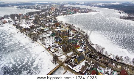 Aerial UAV top view of Trakai, medieval capital of Lithuania in winter