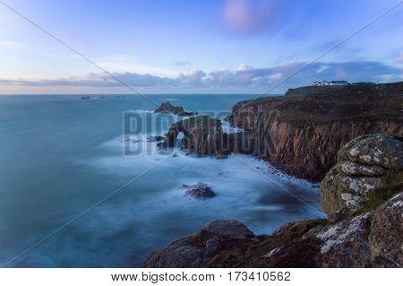 Cornish Coast, England as the sun sets