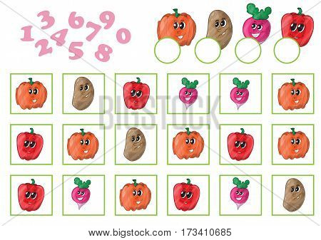 Cartoon Vector Illustration of Education Counting Game for Preschool Children