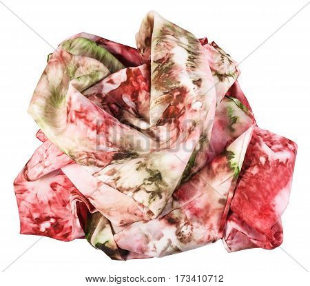 Crumpled Silk Scarf With Abstract Red Ornament