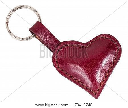 Red Leather Heart Shape Keychain Isolated