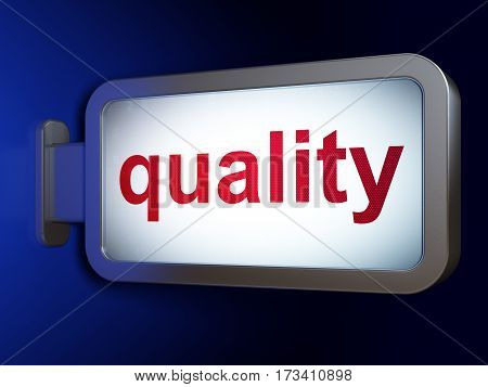 Advertising concept: Quality on advertising billboard background, 3D rendering