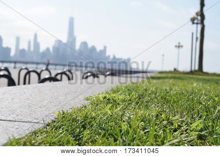 Hoboken, parco con vista su New York