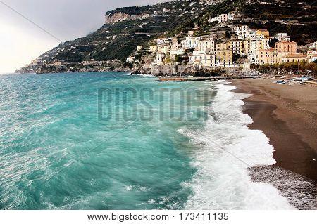 Amalfi beach on the Mediterrean sea in Italy
