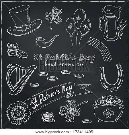 St. Patrick s Day set with Irish music, pub decoration, rainbow, flags, beer mugs, clover, leprechaun hat, pot of gold coins. Vector illustration