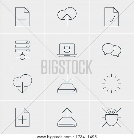 Vector Illustration Of 12 Web Icons. Editable Pack Of Information Load, Hdd Sync, Talking And Other Elements.