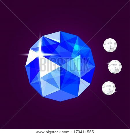 Realistic sapphire jewel. Blue gem vector illustration.
