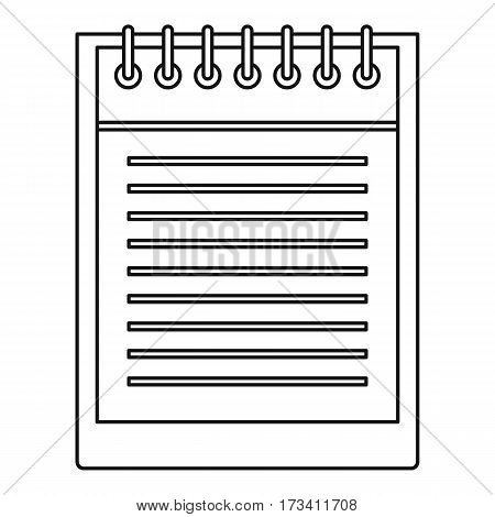 Notepad with spiral icon. Outline illustration of notepad with spiral vector icon for web