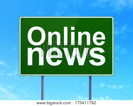News concept: Online News on green road highway sign, clear blue sky background, 3D rendering