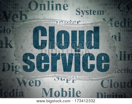 Cloud networking concept: Painted blue text Cloud Service on Digital Data Paper background with   Tag Cloud