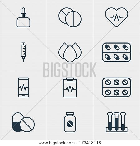 Vector Illustration Of 12 Medical Icons. Editable Pack Of Treatment, Heart Rhythm, Round Tablet And Other Elements.