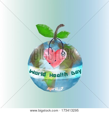 World Health Day.  7 April. Globe Infographics Vector illustration