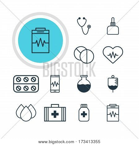 Vector Illustration Of 12 Medical Icons. Editable Pack Of Trickle, Heart Rhythm, Pills And Other Elements.
