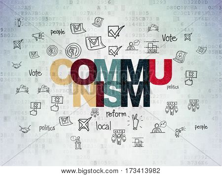 Politics concept: Painted multicolor text Communism on Digital Data Paper background with  Hand Drawn Politics Icons