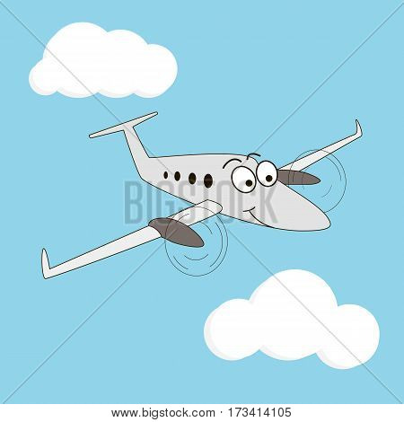 Cartoon style turboprop smiling airplane on a sky background. Happy two engine aircraft with big eyes. Sky wings fluffy clouds windows eyebrow flight trip peaceful. Vector illustration
