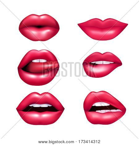 Beautiful plush female lips expressing different emotions mimic set isolated on white background realisic vector illustration poster