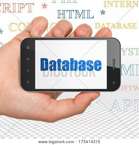Database concept: Hand Holding Smartphone with  blue text Database on display,  Tag Cloud background, 3D rendering