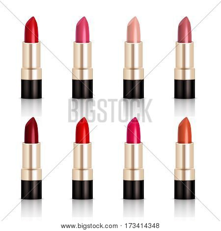 Lipstick assortment set with glossy colors realistic isolated vector illustration